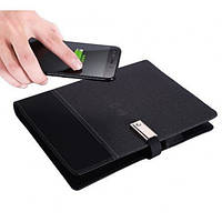 Блокнот, бизнес-ежедневник с флешкой 16 Гб и беспроводной зарядкой, Powerbank Черный