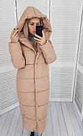 Теплый зимний пуховик пальто куртка оверсайз с капюшоном курточка одеяло плащевка+ 46-48