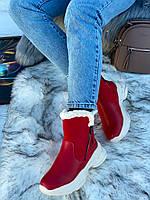 Ботинки женские зимние 6 пар в ящике красного цвета 36-40, фото 2