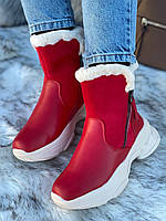 Ботинки женские зимние 6 пар в ящике красного цвета 36-40, фото 3