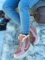 Ботинки женские зимние 6 пар в ящике розового цвета 36-40, фото 3