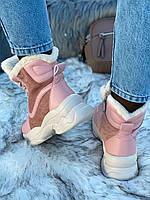 Ботинки женские зимние 6 пар в ящике розового цвета 36-40, фото 6