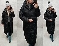 Теплый зимний пуховик пальто куртка оверсайз с капюшоном курточка одеяло плащевка+ 58-60