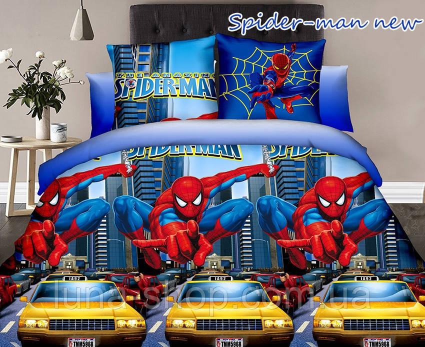 Детский полуторный комплект Спайдермен-Машины, ранфорс (хлопок)