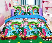 Полуторный подростковый постельный комплект Литтл Пони-9, ранфорс, хлопок