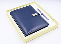 Ежедневник, блокнот, бизнес-ежедневник с флешкой 16 Гб и беспроводной зарядкой, Powerbank Синий (2121)