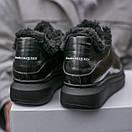 Зимние Кроссовки женские Alexander McQueen all black FUR (зима), фото 5