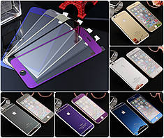 Защитное стекло для iPhone 4 4S перед-зад цветное закаленное