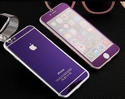 Защитное стекло для iPhone 4 4S перед-зад цветное закаленное сиреневый