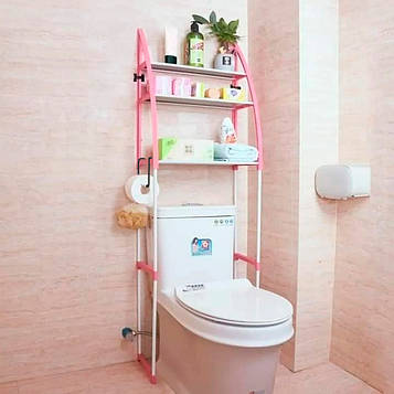 Этажерка для туалета за унитаз пластик/металл розовая высота 150 см., напольная полка для туалета