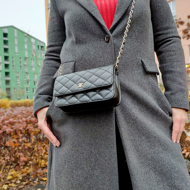 Чёрная маленькая сумочка клатч Шанель