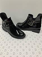 Лаковые кожаные женские ботинки черные на низком каблуке Италия Украина. Размеры 36 37 38 39 40