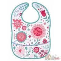 Слюнявчик для девочки пластиковый мягкий с карманом Canpol 5901691816770