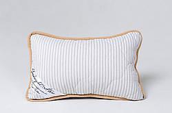 Подушка із вовни мериносів сіра у смужку розмір 40х60