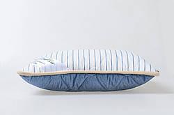Подушка із вовни мериносів синя в смужку розмір 50х70