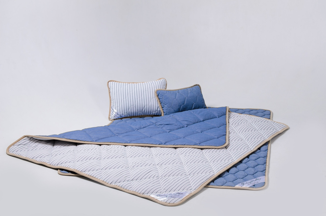 Комплект із вовни мериносів синій у смужку двохспальний (Ковдра 180х200 + Подушки 40х60 2шт.)