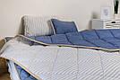Комплект із вовни мериносів синій у смужку двохспальний (Ковдра 180х200 + Подушки 40х60 2шт.), фото 3