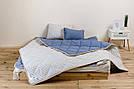 Комплект із вовни мериносів синій у смужку двохспальний (Ковдра 180х200 + Подушки 40х60 2шт.), фото 4
