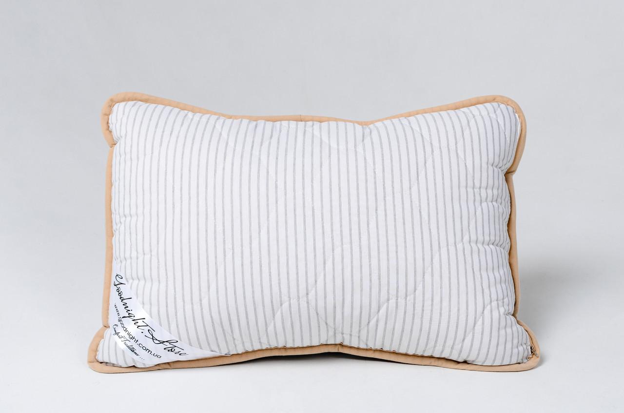 Подушка із вовни мериносів сіра в смужку розмір 50х70