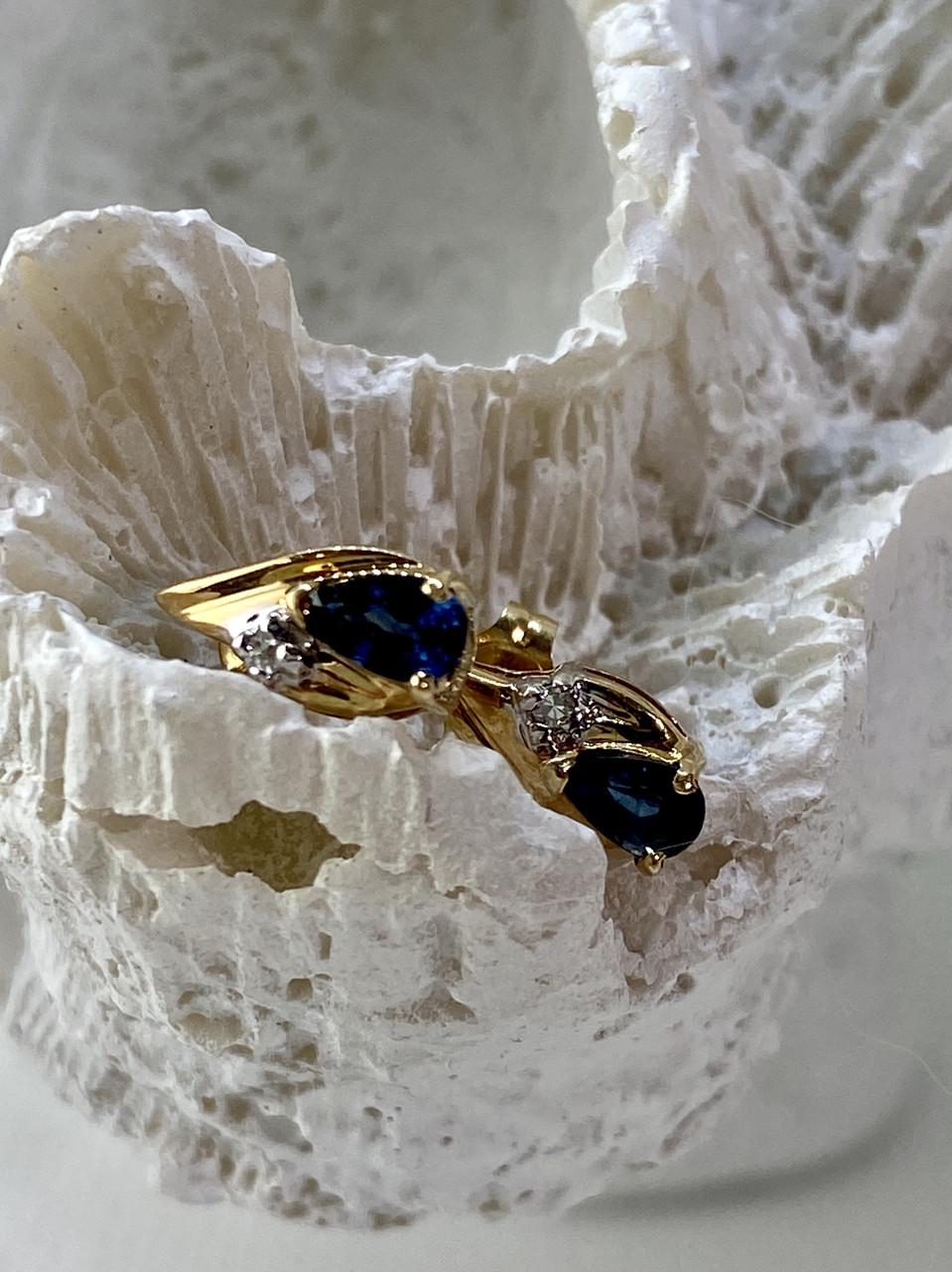 Золотые серьги с сапфиром и бриллиантом   Счастье