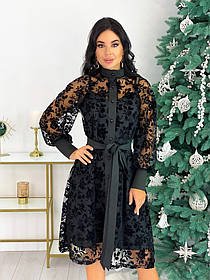 Нарядное комбинированное платье из сетки 50-628