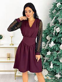 Нарядное комбинированное платье 50-631