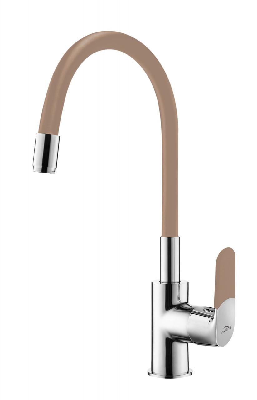 Змішувач для кухні з гнучким виливом, Invena Samba, кавовий, BZ-91-L03