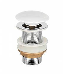 Донний клапан Invena, click-clack, білий, глянцевий, керамічний грибок SC-B1-BBP