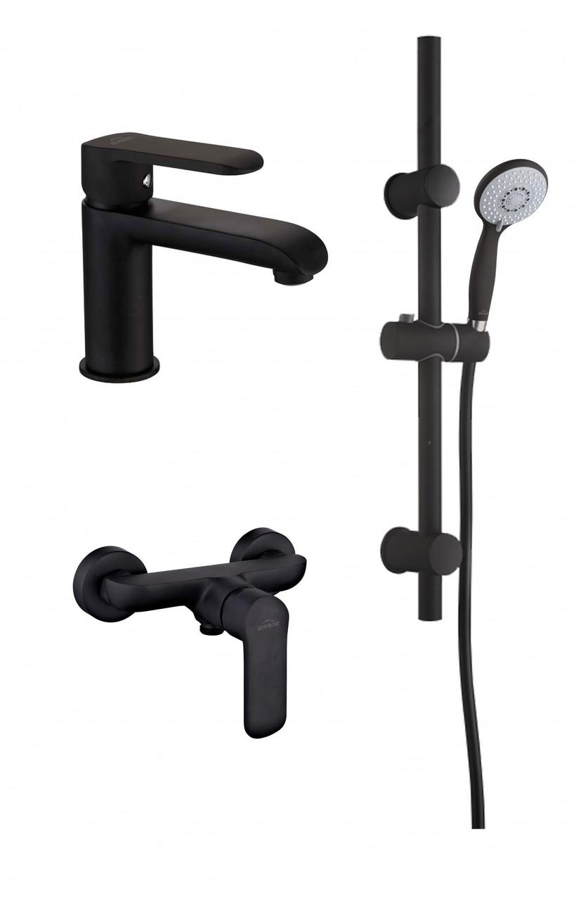 Набір змішувачів чорний Invena Siros (змішувач для умивальника + змішувач для душу + душовий гарнітур)