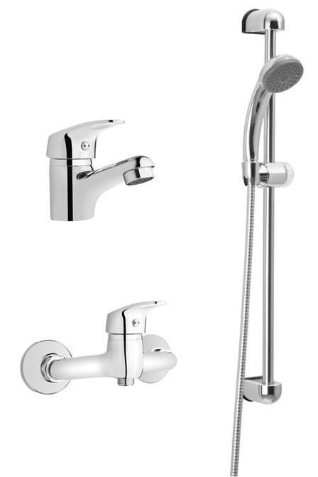 Набір змішувачів Invena Ava new (змішувач для умивальника + змішувач для ванни + душовий гарнітур)
