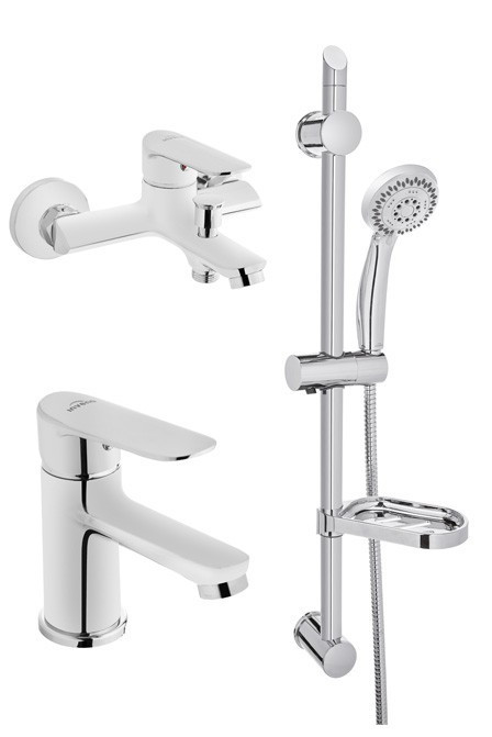 Набір змішувачів Invena Esla (змішувач для умивальника + змішувач для ванни + душовий гарнітур)
