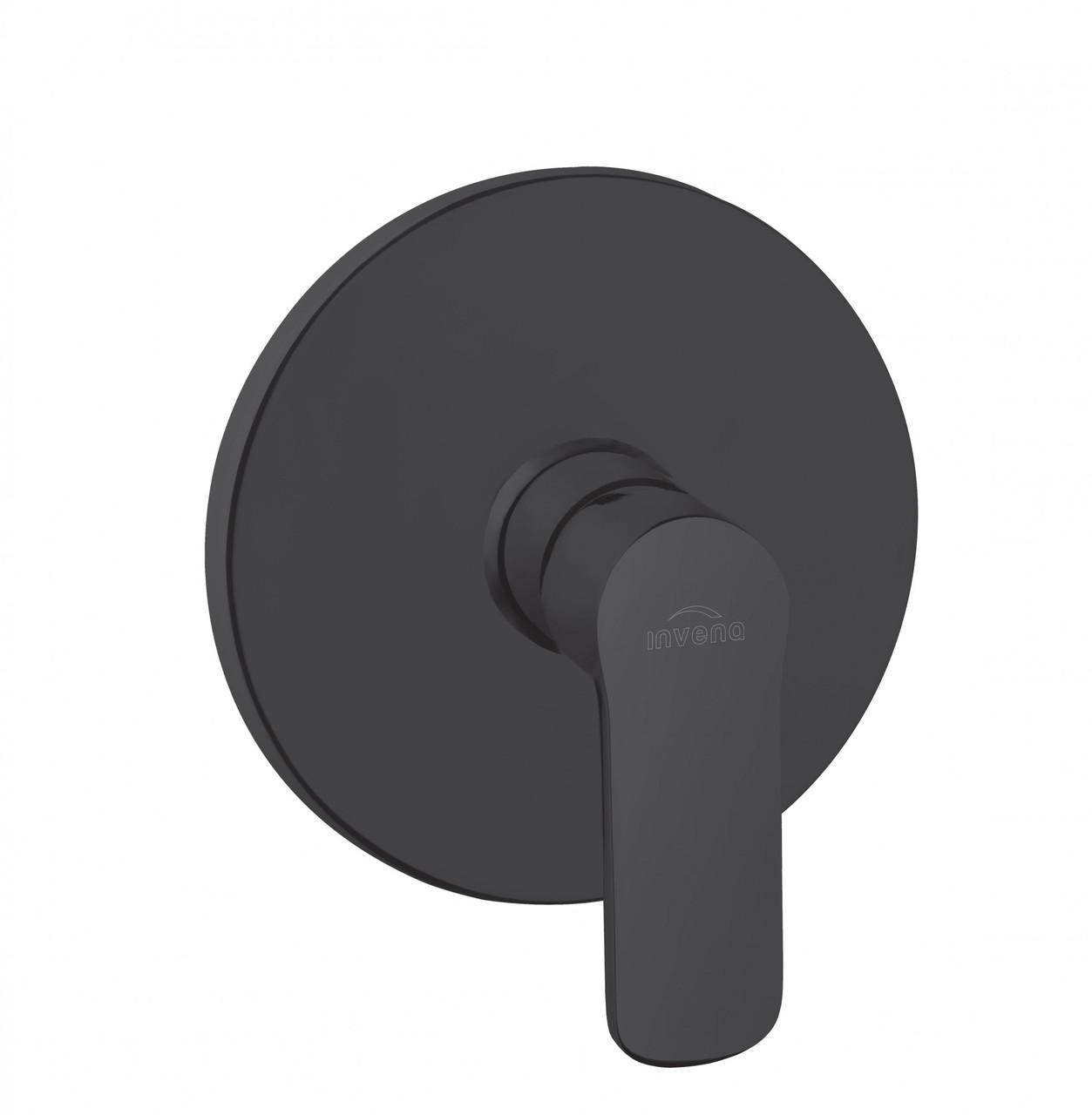 Змішувач стінний прихований Invena Siros BP-90-4O1 однофункційний кругла розета чорний