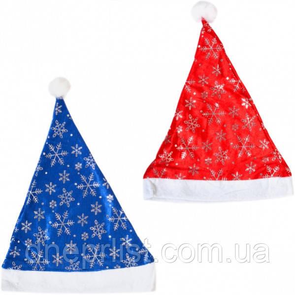 Шапка Деда Мороза с блестками, велюр