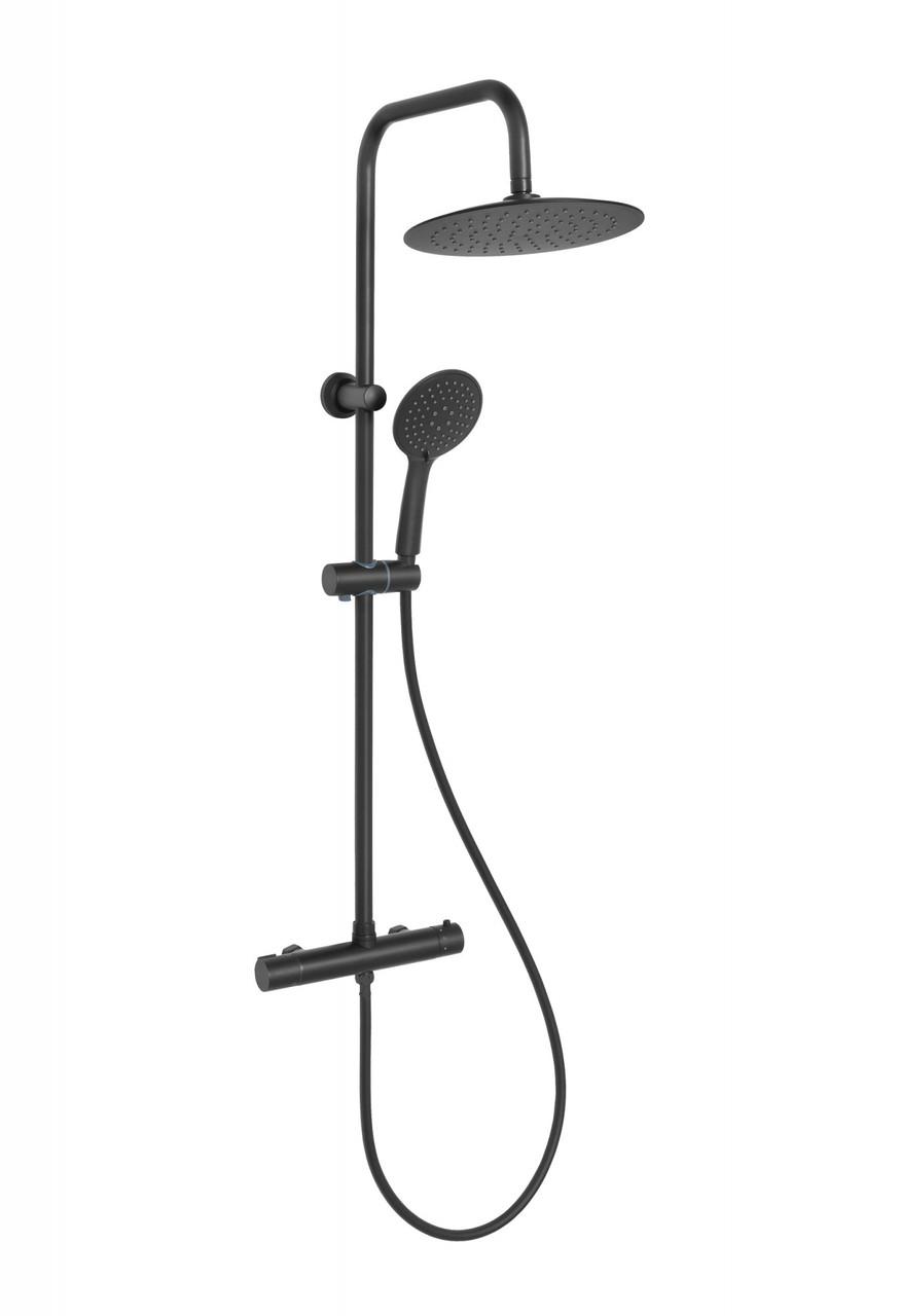 Душова система з термостатичним змішувачем Invena Musta, чорна, AU-84-004