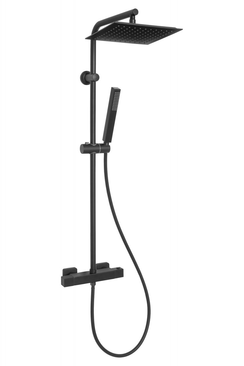 Душова система з термостатичним змішувачем Invena Svart, чорна, AU-85-004