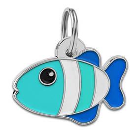 Адресник емальований Рибка бірюзовий, 2,7 х 1,8 см (гравірування під замовлення 3-7 днів)