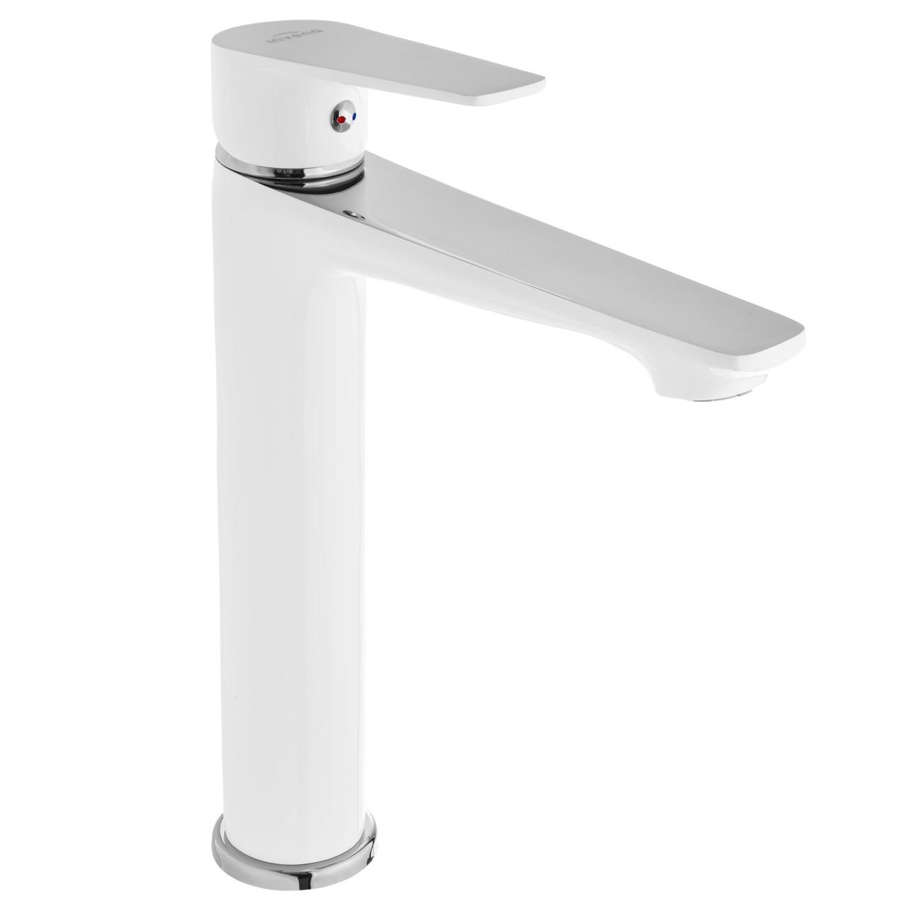 Змішувач для раковини Invena Dokos BU-19-W02 високий білий/хром