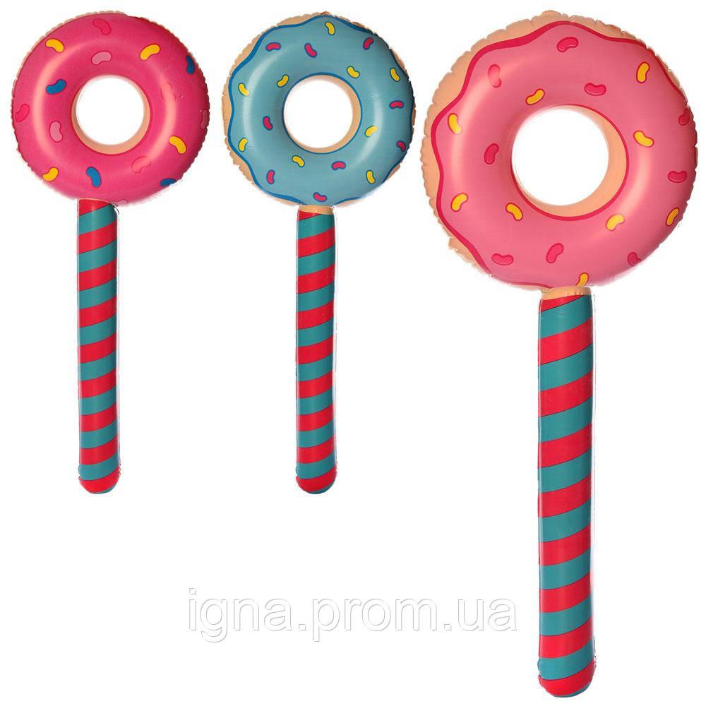 Игрушки надувные MSW 064 (180шт) пончик/леденец, 87см,микс цветов, в кульке, 14-14-2см