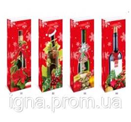 """Пакет подарунковий паперовий під пляшку """"Christmas"""" 12.8*8.4*36см TL00060 (960шт)"""