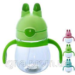 Чашка-поилка детская с трубочокой 250мл 14*8см R83603 (90шт)