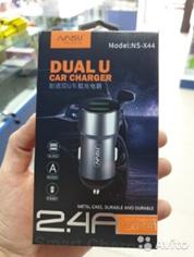 Автомобильная зарядка АЗУ NAISU NS-X44 Корпус металл, 2 USB 2,4A + кабель micro-usb
