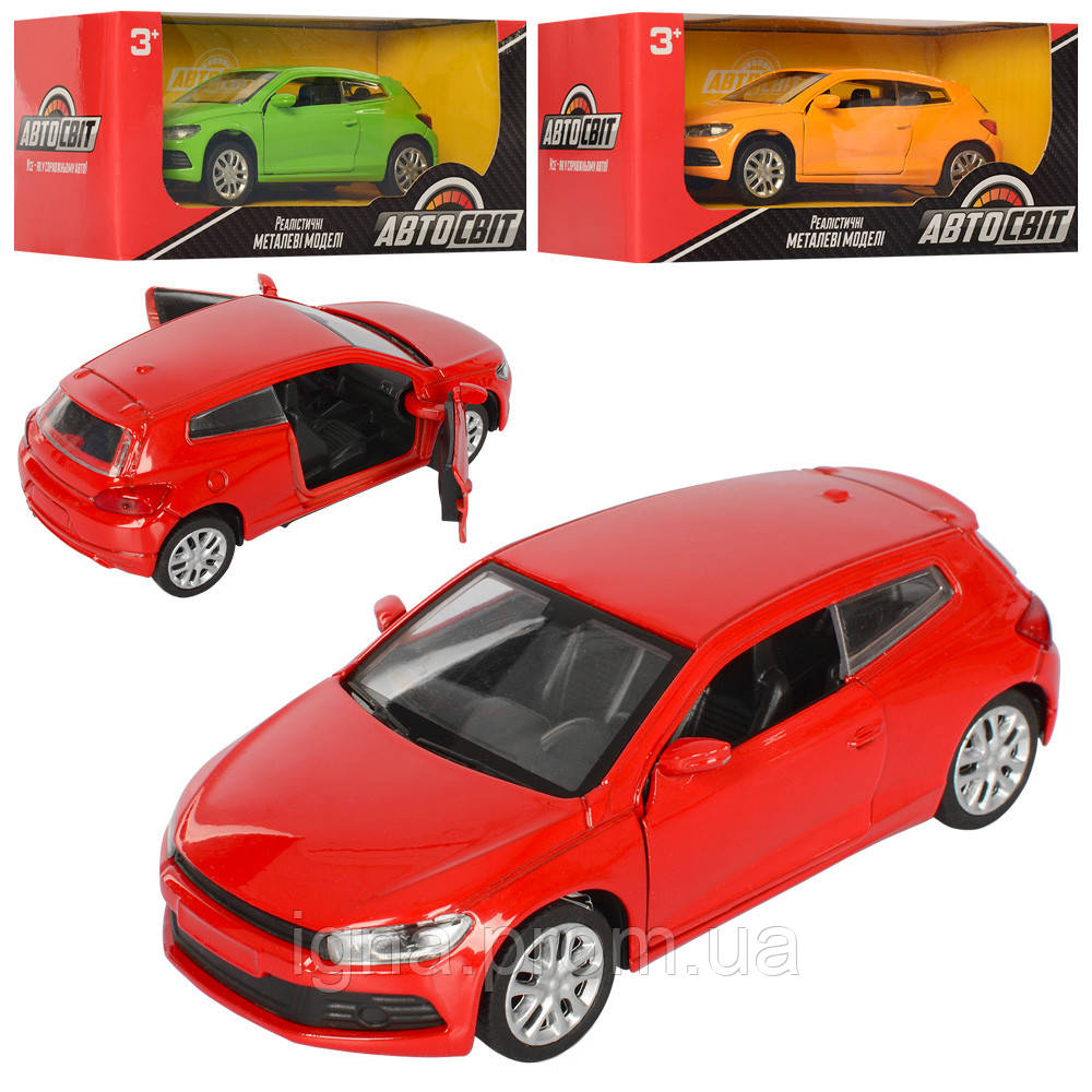 Машина AS-2305 (48шт) АвтоСвіт, металл, инер-я,12,5см,рез.кол,откр.двери,3цв,в кор-ке,16,5-7,5-7см