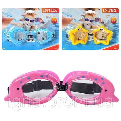 Очки для плавания 55603 (12шт) детские, 3-8лет, УФ-защита, регул рем, 3 вида, на листе, 20-15-4см