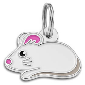 Адресник емальований Мишка білий, 2,8 х1,7 см (гравірування під замовлення 3-7 днів)