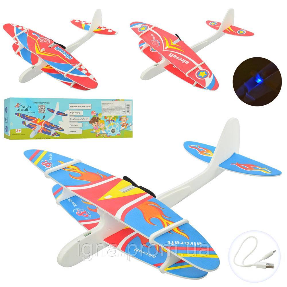 Самолет 1115 (50шт) аккум, 28см, пенопласт, 3вида, USBзарядное, в кор-ке,31,5-8,5-3см