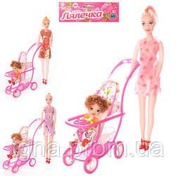 Кукла 339-1/2214 (144шт) 2шт, 27см и 10см. с колясой, 3 вида, в кульке, 18-32-5см