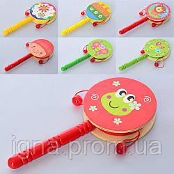 Деревянная игрушка Погремушка MD 2301 (100шт) 17см, микс видов, в кульке, 17-7,5-2см