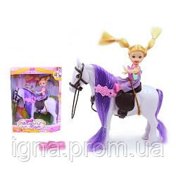 Лошадь 686-351 (72шт) 16см, кукла 10см, аксессуар, 2цвета, в кор-ке, 23-18-6см