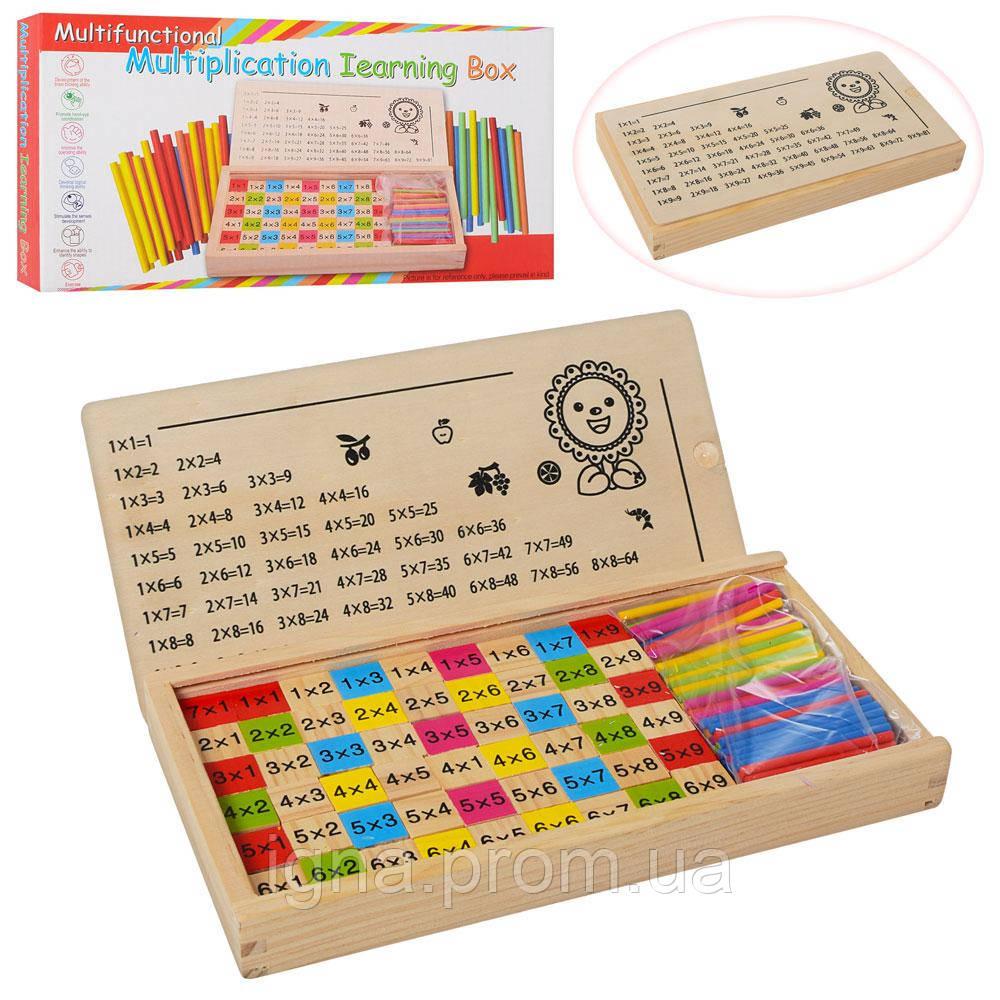 Деревянная игрушка Набор первоклассника MD 1267 (24шт) счетн.палочки,табл.умнож,в кор-ке,28-15-3см