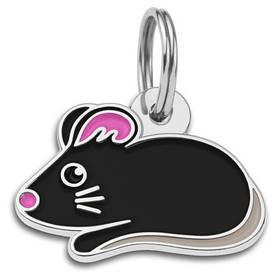 Адресник емальований Мишка чорний, 2,8 х1,7 см (гравірування під замовлення 3-7 днів)